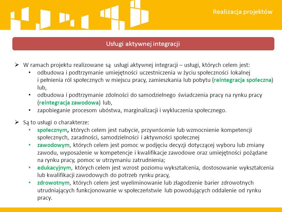  W ramach projektu realizowane są usługi aktywnej integracji – usługi, których celem jest: odbudowa i podtrzymanie umiejętności uczestniczenia w życi