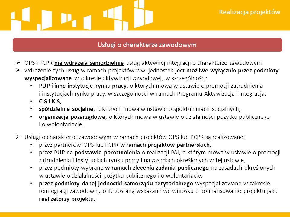 OPS i PCPR nie wdrażają samodzielnie usług aktywnej integracji o charakterze zawodowym  wdrożenie tych usług w ramach projektów ww. jednostek jest