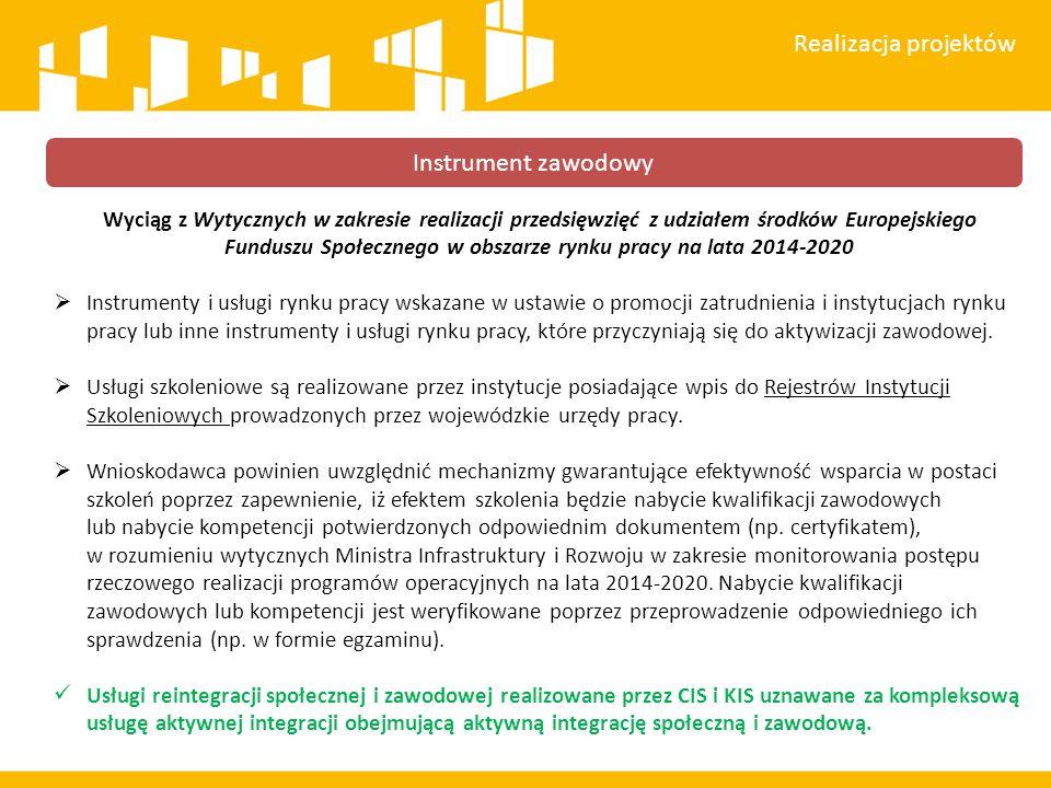 Wyciąg z Wytycznych w zakresie realizacji przedsięwzięć z udziałem środków Europejskiego Funduszu Społecznego w obszarze rynku pracy na lata 2014-2020