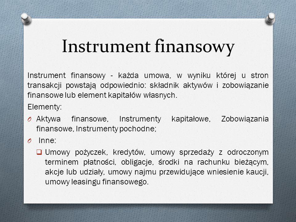 Instrument finansowy Instrument finansowy - każda umowa, w wyniku której u stron transakcji powstają odpowiednio: składnik aktywów i zobowiązanie fina