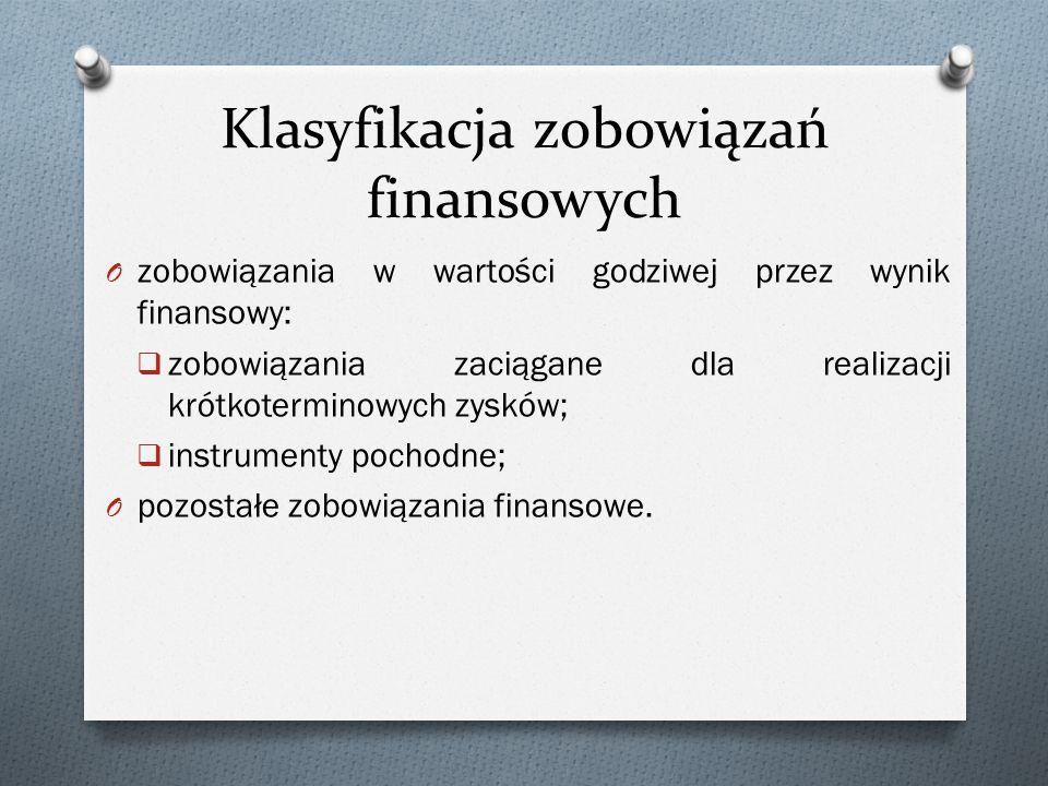 Klasyfikacja zobowiązań finansowych O zobowiązania w wartości godziwej przez wynik finansowy:  zobowiązania zaciągane dla realizacji krótkoterminowyc