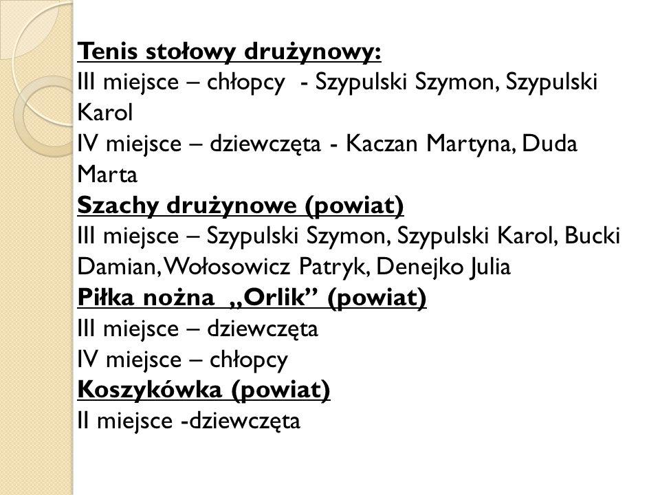 Tenis stołowy drużynowy: III miejsce – chłopcy - Szypulski Szymon, Szypulski Karol IV miejsce – dziewczęta - Kaczan Martyna, Duda Marta Szachy drużyno