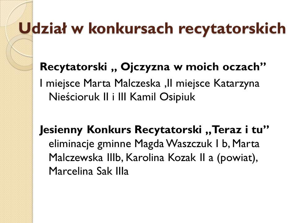 """Udział w konkursach recytatorskich Recytatorski """" Ojczyzna w moich oczach"""" I miejsce Marta Malczeska,II miejsce Katarzyna Nieścioruk II i III Kamil Os"""