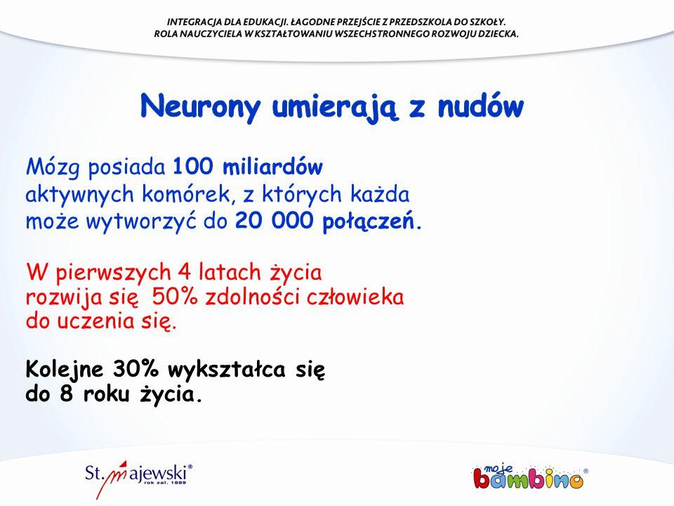 Mózg posiada 100 miliardów aktywnych komórek, z których każda może wytworzyć do 20 000 połączeń. W pierwszych 4 latach życia rozwija się 50% zdolności