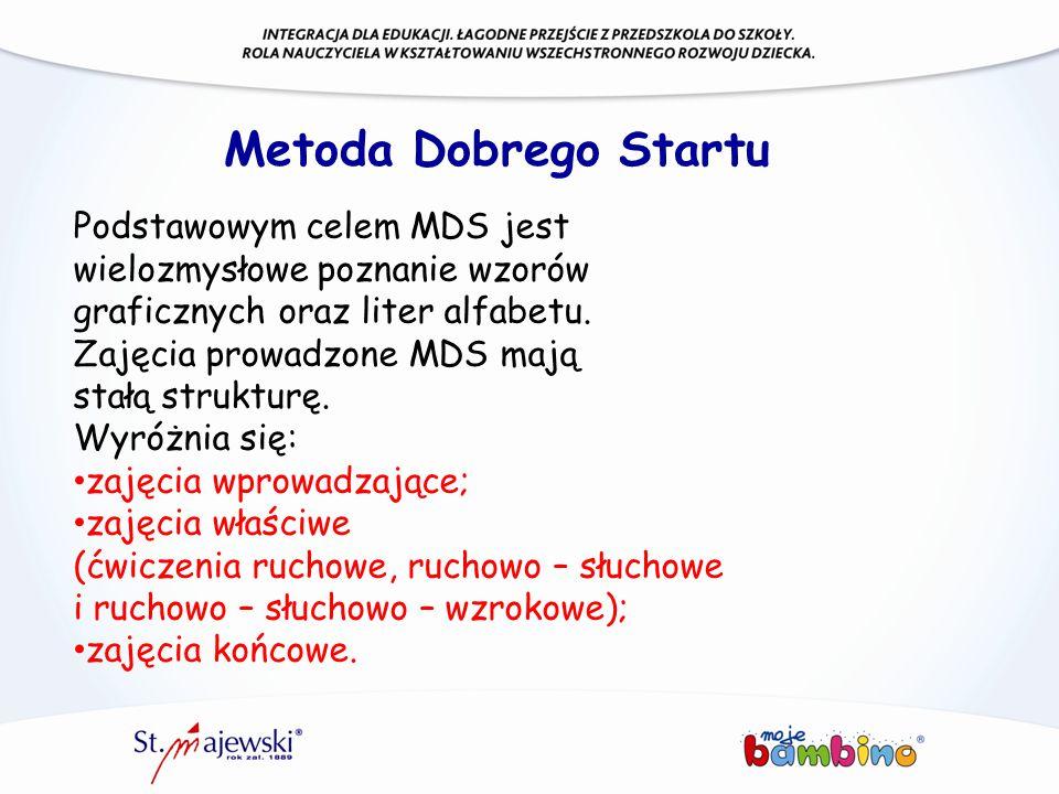 Metoda Dobrego Startu Podstawowym celem MDS jest wielozmysłowe poznanie wzorów graficznych oraz liter alfabetu. Zajęcia prowadzone MDS mają stałą stru