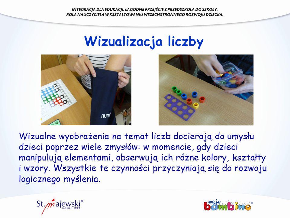 Wizualizacja liczby Wizualne wyobrażenia na temat liczb docierają do umysłu dzieci poprzez wiele zmysłów: w momencie, gdy dzieci manipulują elementami