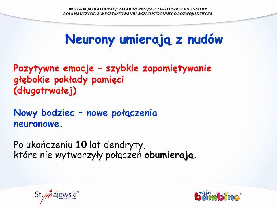 Pozytywne emocje – szybkie zapamiętywanie głębokie pokłady pamięci (długotrwałej) Nowy bodziec – nowe połączenia neuronowe. Po ukończeniu 10 lat dendr