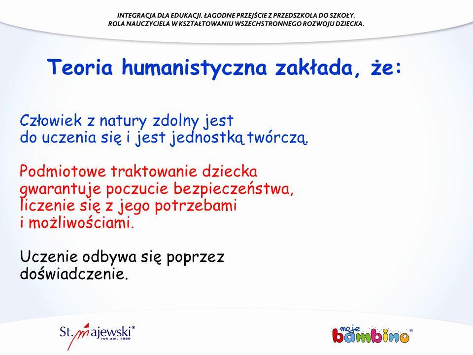Teoria humanistyczna zakłada, że: Człowiek z natury zdolny jest do uczenia się i jest jednostką twórczą. Podmiotowe traktowanie dziecka gwarantuje poc