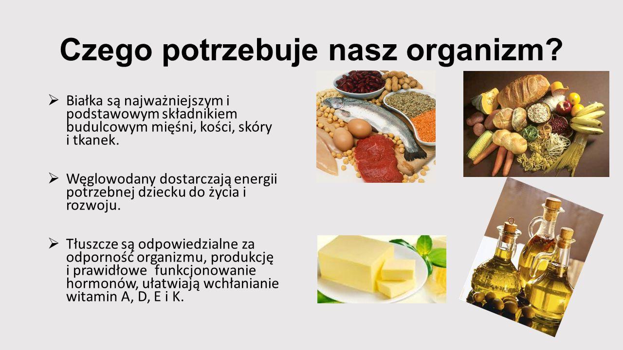 Czego potrzebuje nasz organizm?  Białka są najważniejszym i podstawowym składnikiem budulcowym mięśni, kości, skóry i tkanek.  Węglowodany dostarcza