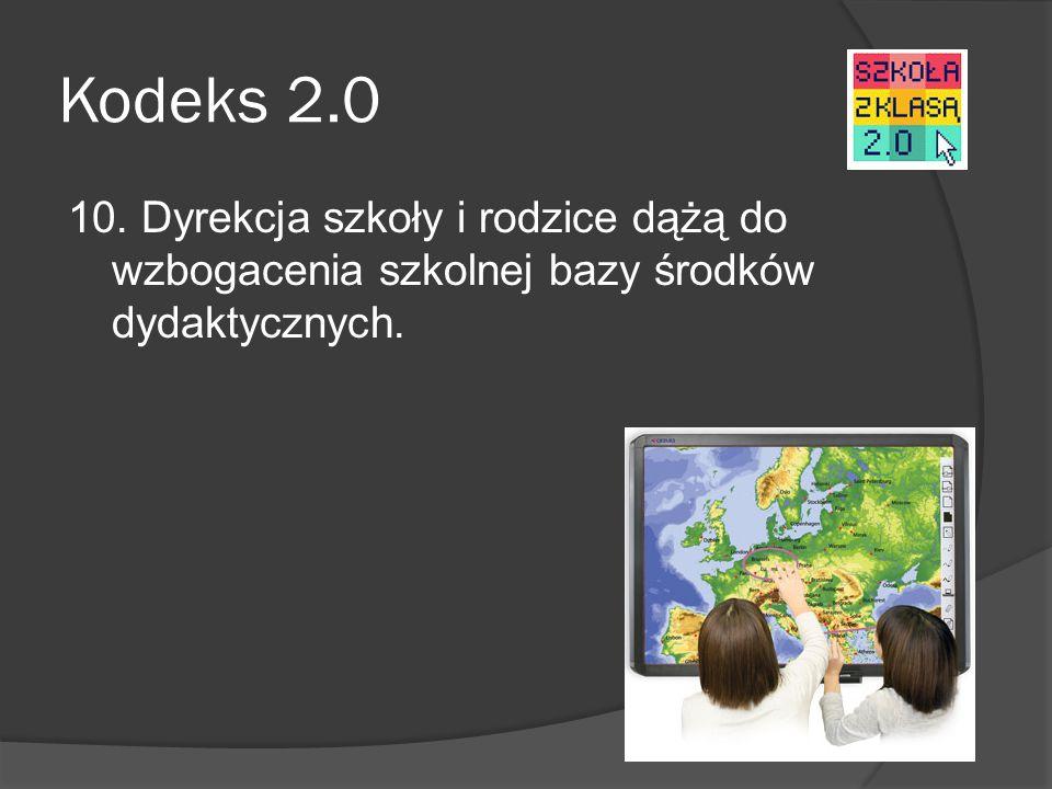Kodeks 2.0 10. Dyrekcja szkoły i rodzice dążą do wzbogacenia szkolnej bazy środków dydaktycznych.