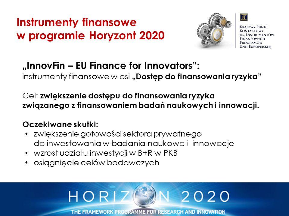 """""""InnovFin – EU Finance for Innovators"""": instrumenty finansowe w osi """"Dostęp do finansowania ryzyka"""" Cel: zwiększenie dostępu do finansowania ryzyka zw"""