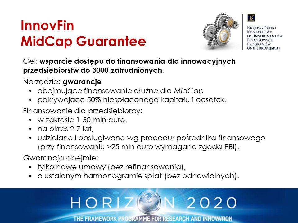 Cel: wsparcie dostępu do finansowania dla innowacyjnych przedsiębiorstw do 3000 zatrudnionych. Narzędzie: gwarancje obejmujące finansowanie dłużne dla