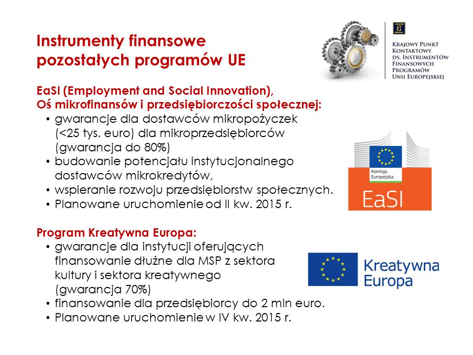EaSI (Employment and Social Innovation), Oś mikrofinansów i przedsiębiorczości społecznej: gwarancje dla dostawców mikropożyczek (<25 tys. euro) dla m