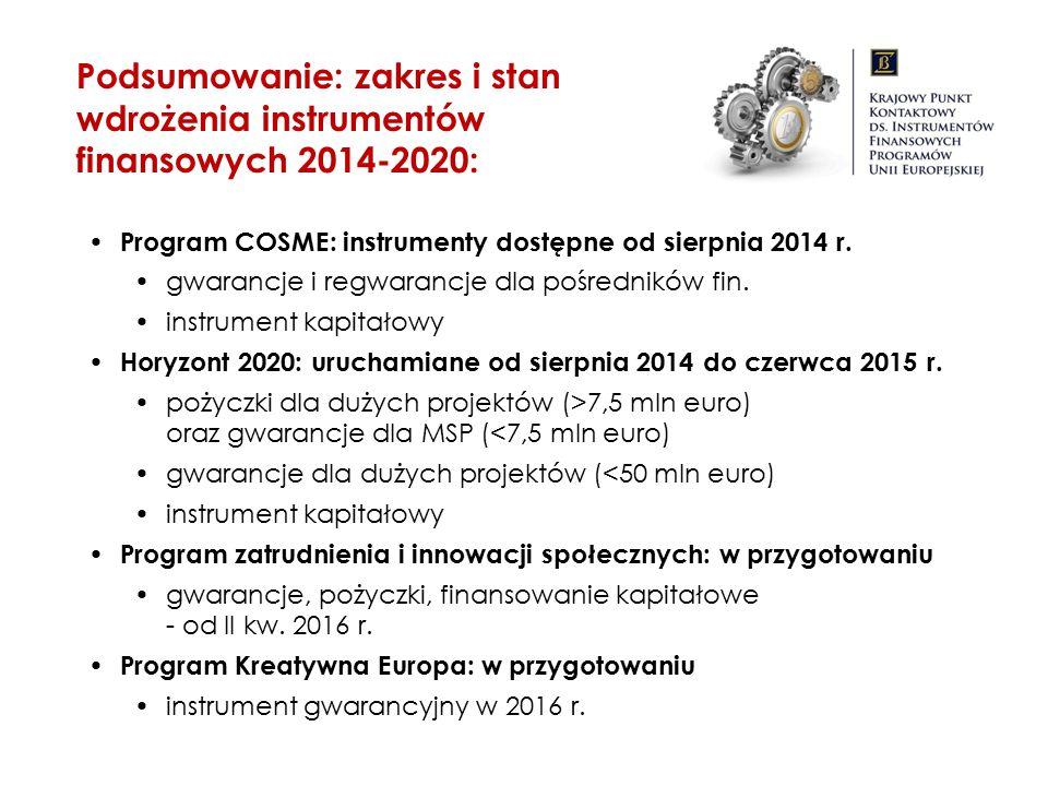 Podsumowanie: zakres i stan wdrożenia instrumentów finansowych 2014-2020: Program COSME: instrumenty dostępne od sierpnia 2014 r. gwarancje i regwaran