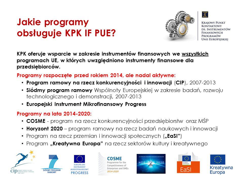 KPK oferuje wsparcie w zakresie instrumentów finansowych we wszystkich programach UE, w których uwzględniono instrumenty finansowe dla przedsiębiorców
