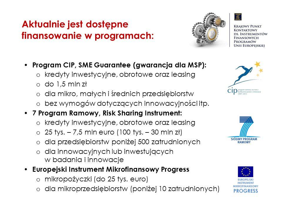 Aktualnie jest dostępne finansowanie w programach: Program CIP, SME Guarantee (gwarancja dla MSP): o kredyty inwestycyjne, obrotowe oraz leasing o do