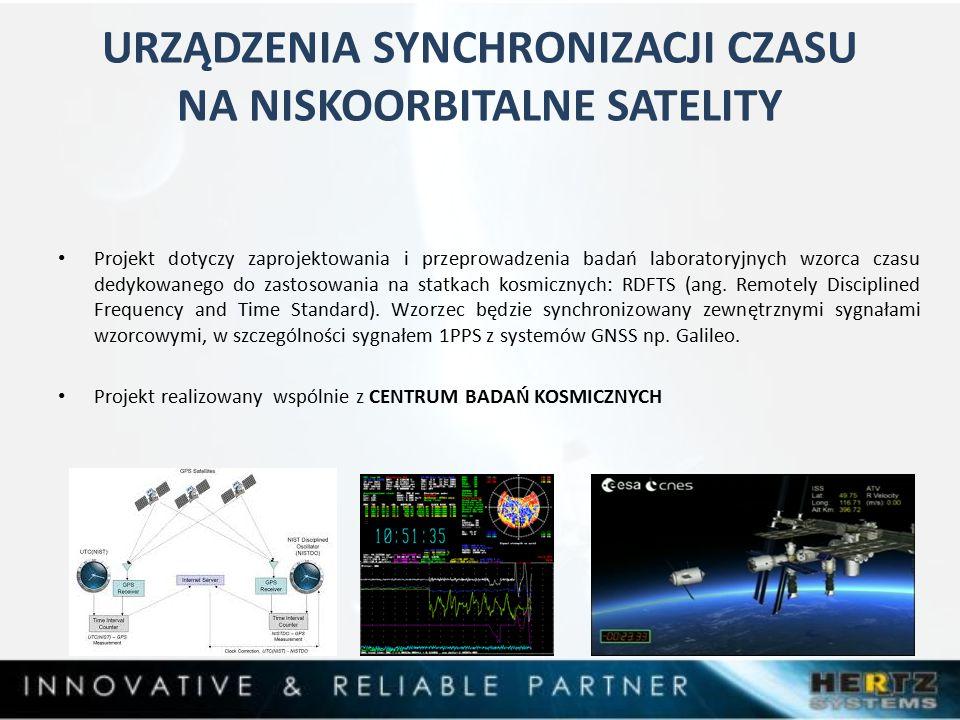 URZĄDZENIA SYNCHRONIZACJI CZASU NA NISKOORBITALNE SATELITY Projekt dotyczy zaprojektowania i przeprowadzenia badań laboratoryjnych wzorca czasu dedykowanego do zastosowania na statkach kosmicznych: RDFTS (ang.