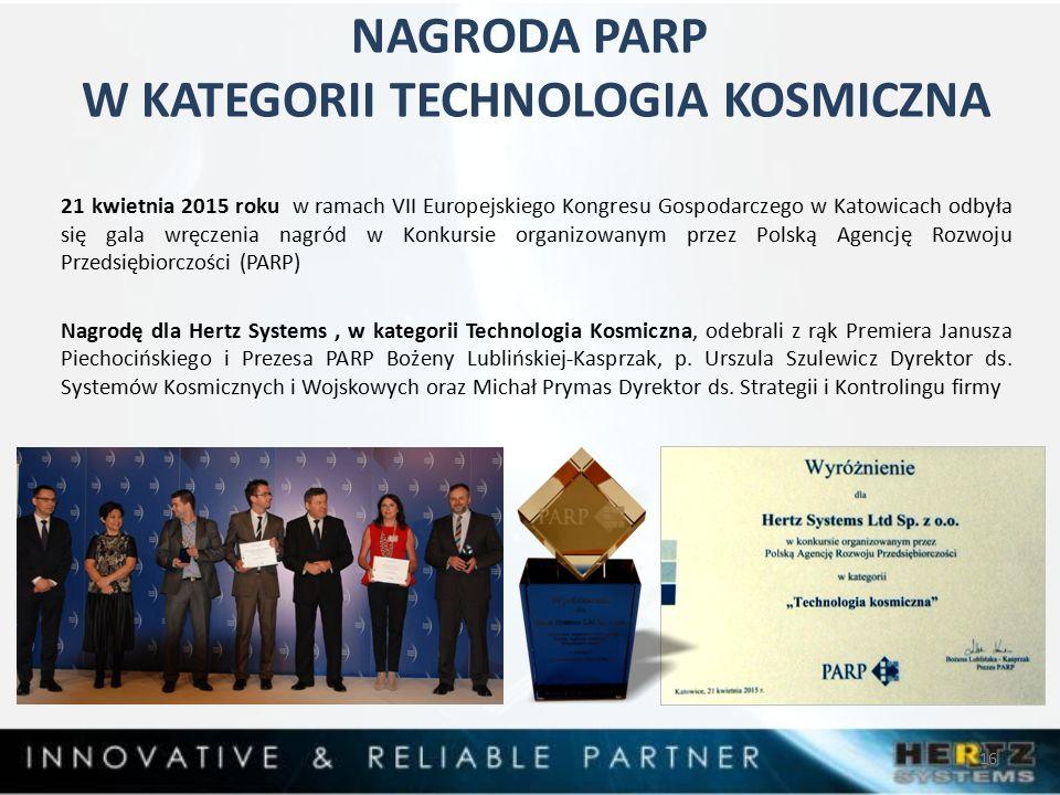 NAGRODA PARP W KATEGORII TECHNOLOGIA KOSMICZNA 21 kwietnia 2015 roku w ramach VII Europejskiego Kongresu Gospodarczego w Katowicach odbyła się gala wręczenia nagród w Konkursie organizowanym przez Polską Agencję Rozwoju Przedsiębiorczości (PARP) Nagrodę dla Hertz Systems, w kategorii Technologia Kosmiczna, odebrali z rąk Premiera Janusza Piechocińskiego i Prezesa PARP Bożeny Lublińskiej-Kasprzak, p.