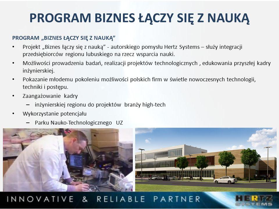 """PROGRAM BIZNES ŁĄCZY SIĘ Z NAUKĄ PROGRAM """"BIZNES ŁĄCZY SIĘ Z NAUKĄ Projekt """"Biznes łączy się z nauką - autorskiego pomysłu Hertz Systems – służy integracji przedsiębiorców regionu lubuskiego na rzecz wsparcia nauki."""