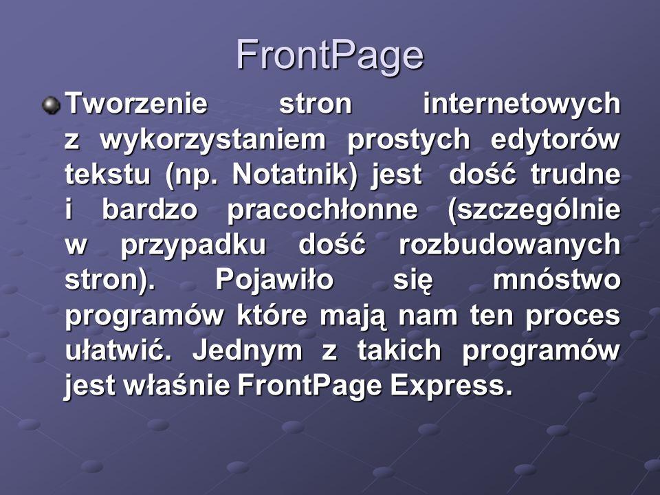 FrontPage Tworzenie stron internetowych z wykorzystaniem prostych edytorów tekstu (np.