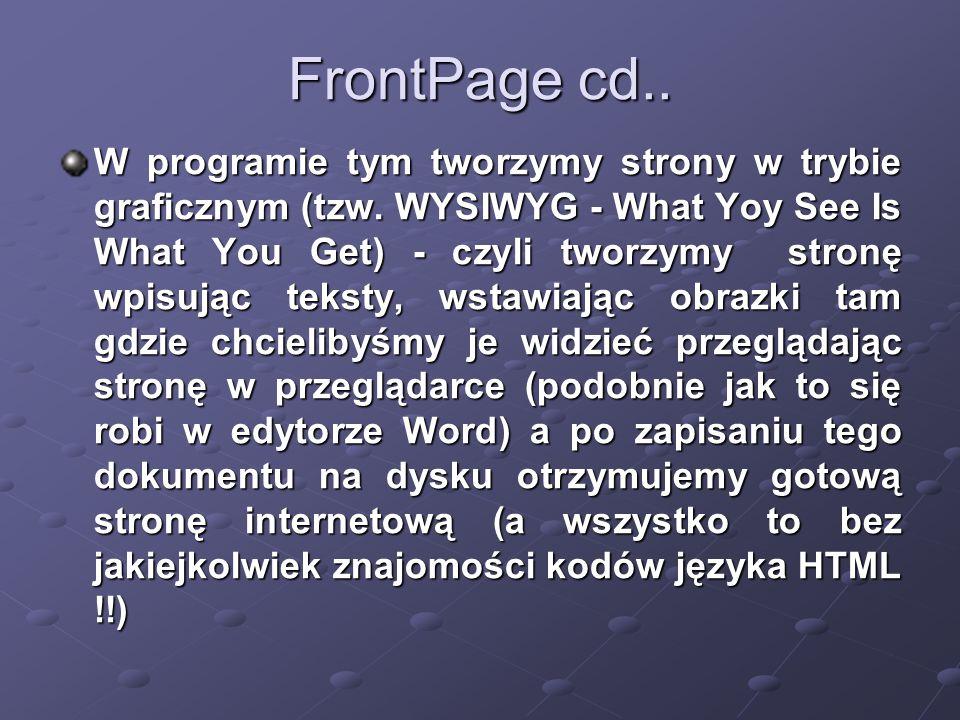 FrontPage cd.. W programie tym tworzymy strony w trybie graficznym (tzw.