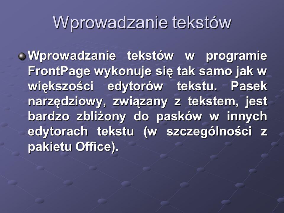 Wprowadzanie tekstów Wprowadzanie tekstów w programie FrontPage wykonuje się tak samo jak w większości edytorów tekstu.