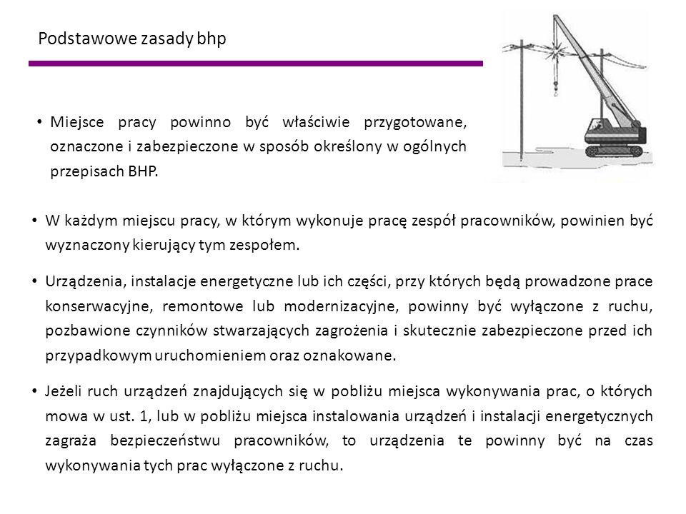 Podstawowe zasady bhp W każdym miejscu pracy, w którym wykonuje pracę zespół pracowników, powinien być wyznaczony kierujący tym zespołem. Urządzenia,