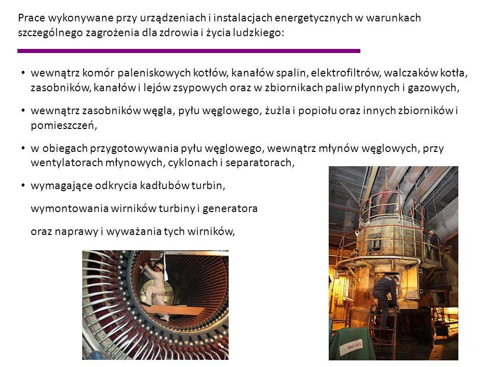 Prace wykonywane przy urządzeniach i instalacjach energetycznych w warunkach szczególnego zagrożenia dla zdrowia i życia ludzkiego: wewnątrz komór pal