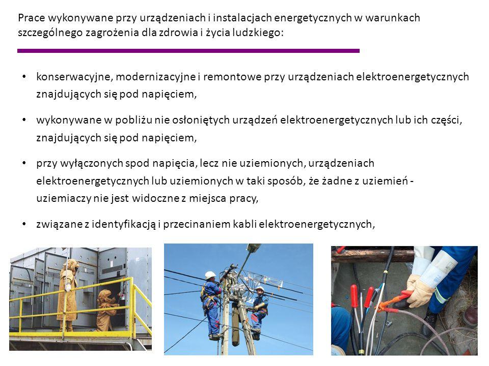 Prace wykonywane przy urządzeniach i instalacjach energetycznych w warunkach szczególnego zagrożenia dla zdrowia i życia ludzkiego: konserwacyjne, mod