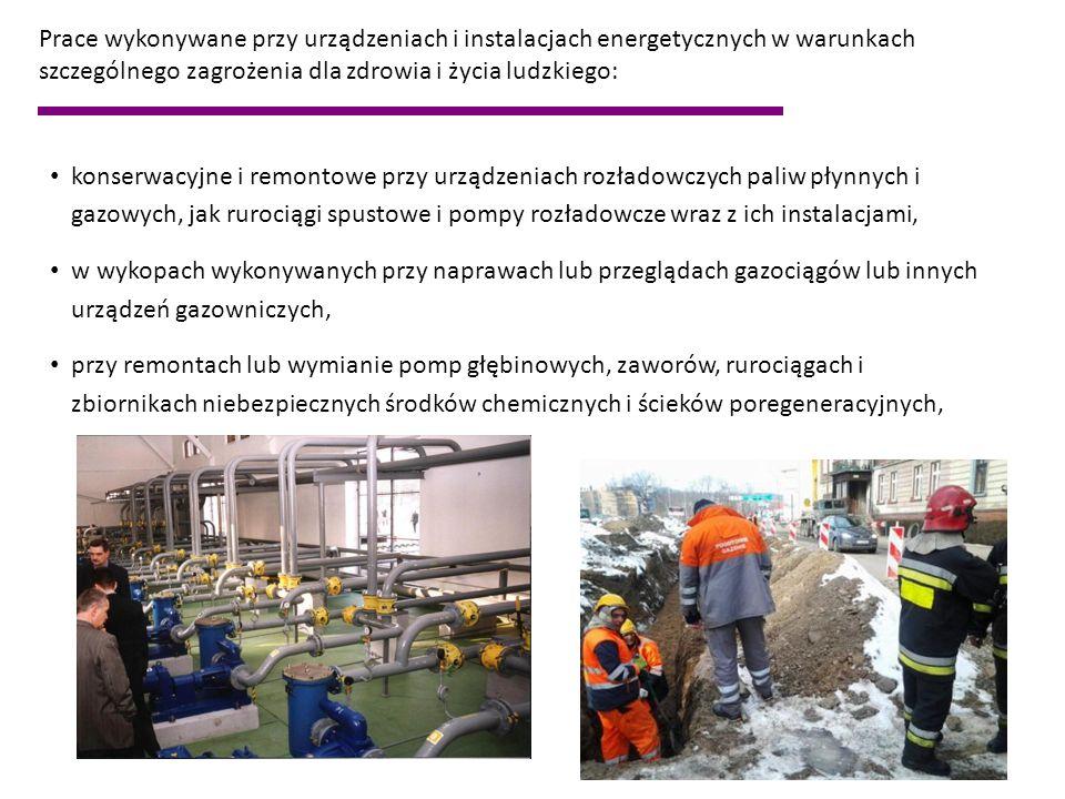 konserwacyjne i remontowe przy urządzeniach rozładowczych paliw płynnych i gazowych, jak rurociągi spustowe i pompy rozładowcze wraz z ich instalacjam