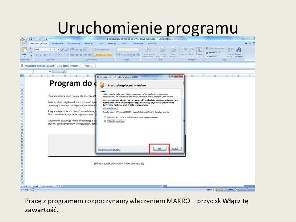Uruchomienie programu Następnie klikamy przycisk START lub CTRL+Q.
