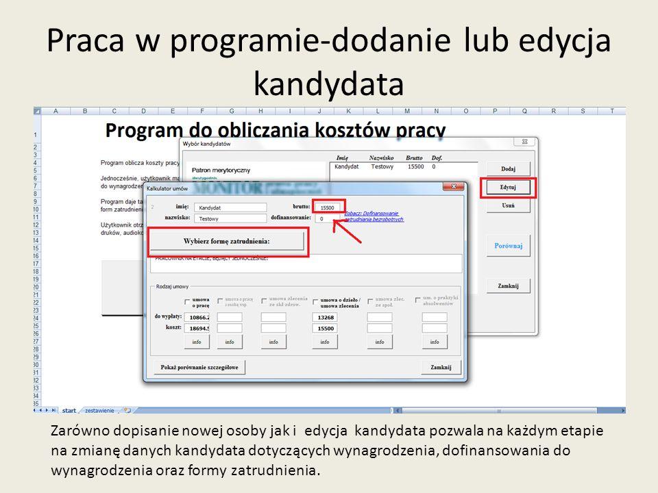 Praca w programie-usunięcie osoby Użytkownik ma również możliwość usunięcia osoby/osób z programu.