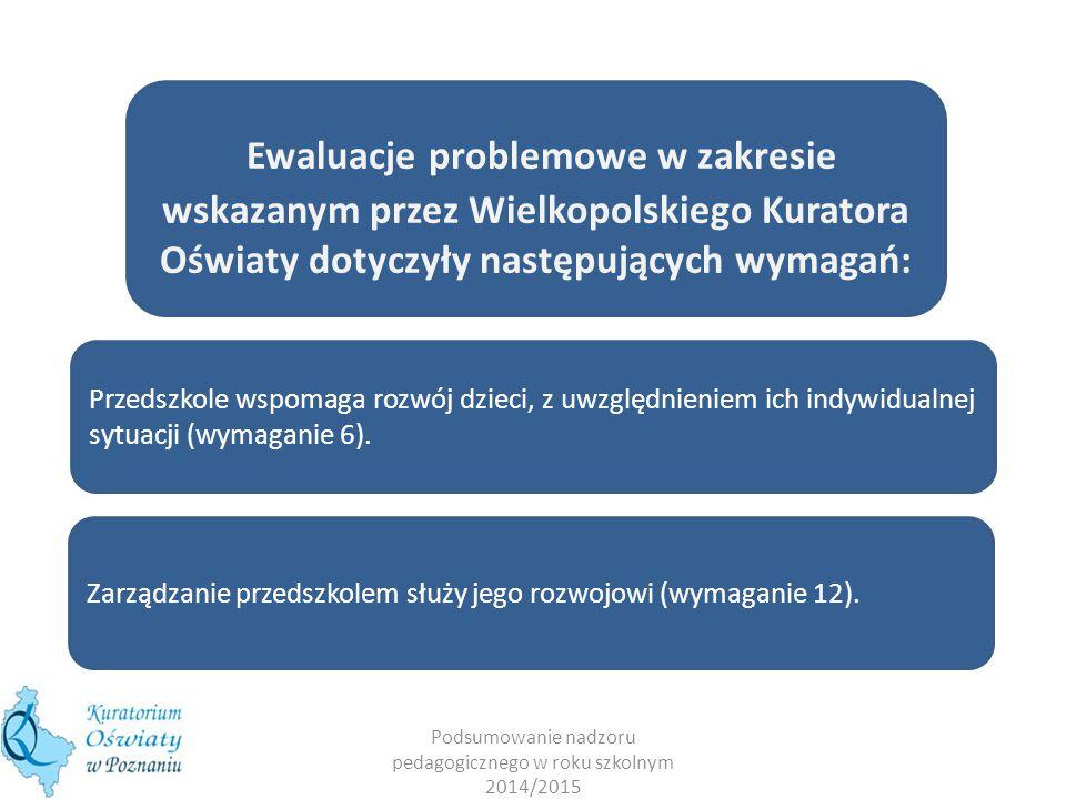 Podsumowanie nadzoru pedagogicznego w roku szkolnym 2014/2015 Ewaluacje problemowe w zakresie wskazanym przez Wielkopolskiego Kuratora Oświaty dotyczyły następujących wymagań: Przedszkole wspomaga rozwój dzieci, z uwzględnieniem ich indywidualnej sytuacji (wymaganie 6).