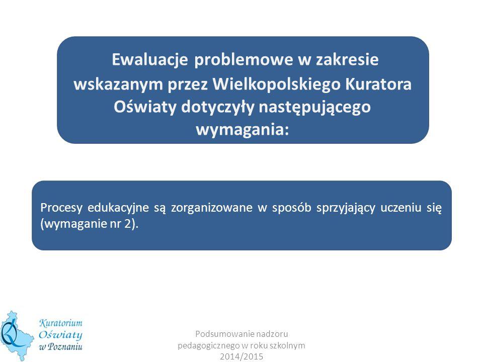 Podsumowanie nadzoru pedagogicznego w roku szkolnym 2014/2015 Ewaluacje problemowe w zakresie wskazanym przez Wielkopolskiego Kuratora Oświaty dotyczyły następującego wymagania: Procesy edukacyjne są zorganizowane w sposób sprzyjający uczeniu się (wymaganie nr 2).