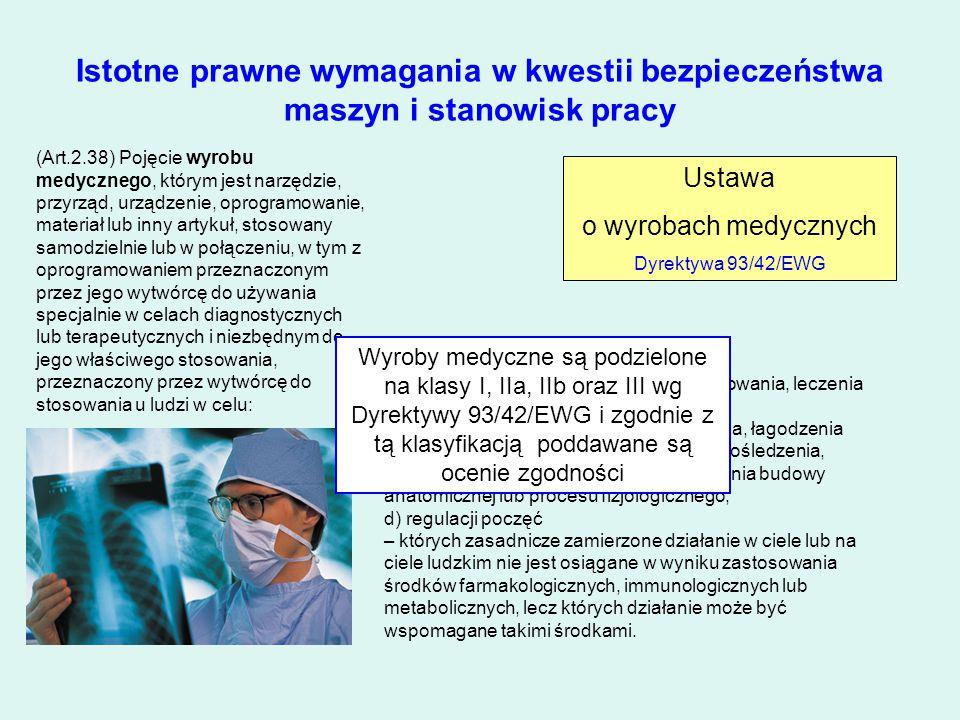 Istotne prawne wymagania w kwestii bezpieczeństwa maszyn i stanowisk pracy Ustawa o wyrobach medycznych Dyrektywa 93/42/EWG a) diagnozowania, zapobieg