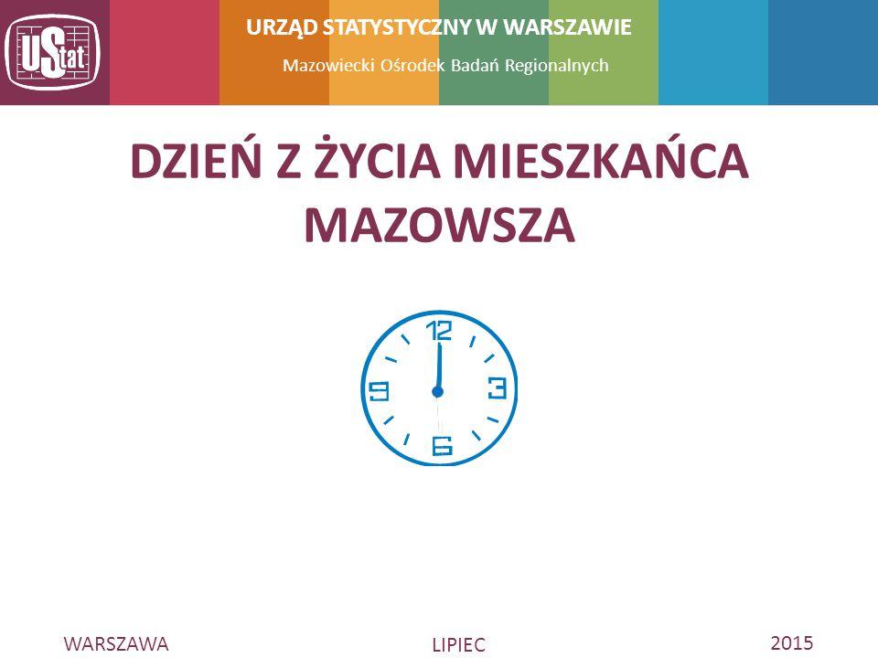 WARSZAWA LIPIEC 2015 Mazowiecki Ośrodek Badań Regionalnych URZĄD STATYSTYCZNY W WARSZAWIE DZIEŃ Z ŻYCIA MIESZKAŃCA MAZOWSZA
