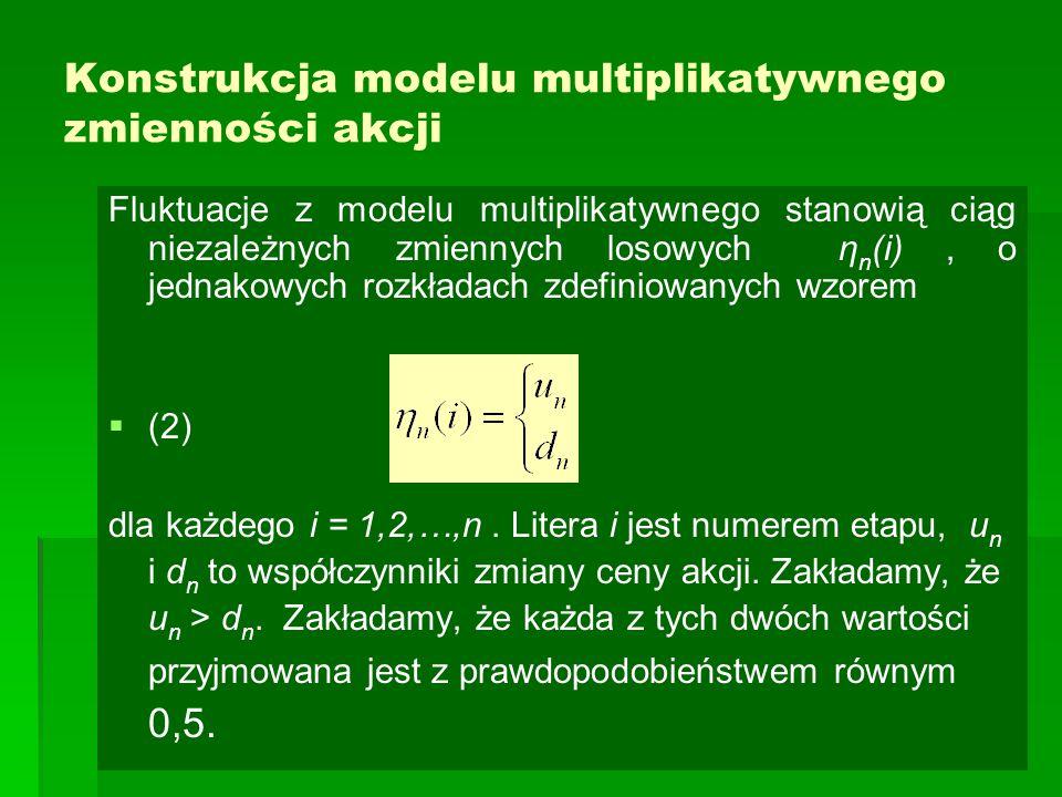 Konstrukcja modelu multiplikatywnego zmienności akcji Fluktuacje z modelu multiplikatywnego stanowią ciąg niezależnych zmiennych losowych η n (i), o j