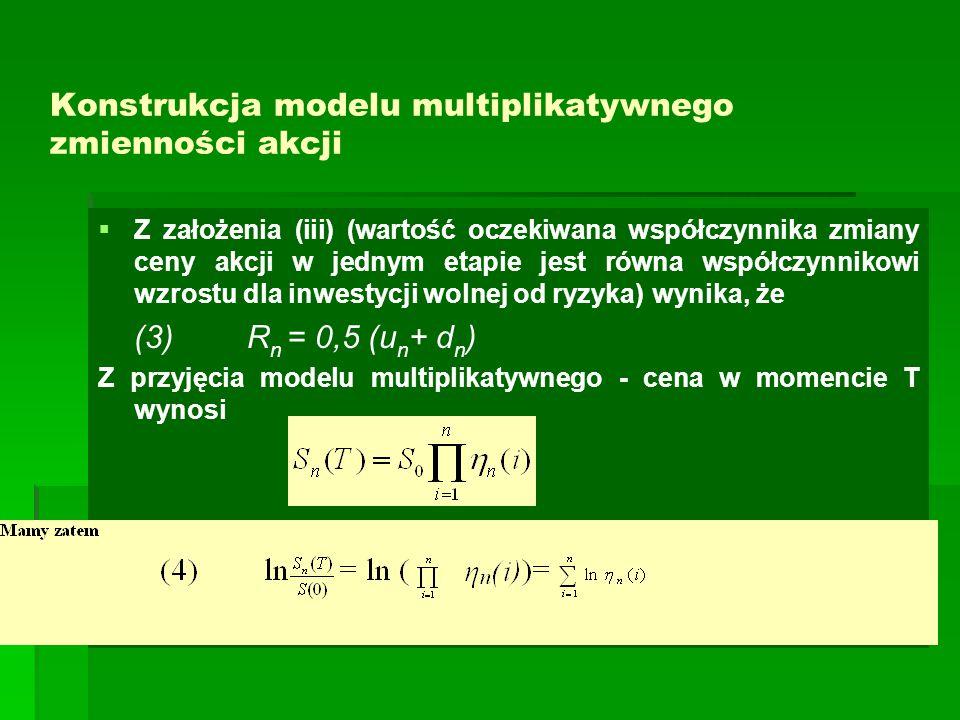 Konstrukcja modelu multiplikatywnego zmienności akcji   Z założenia (iii) (wartość oczekiwana współczynnika zmiany ceny akcji w jednym etapie jest r