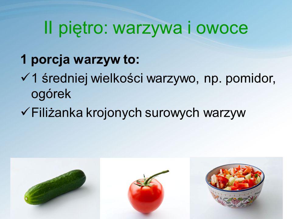 II piętro: warzywa i owoce 1 porcja warzyw to: 1 średniej wielkości warzywo, np.