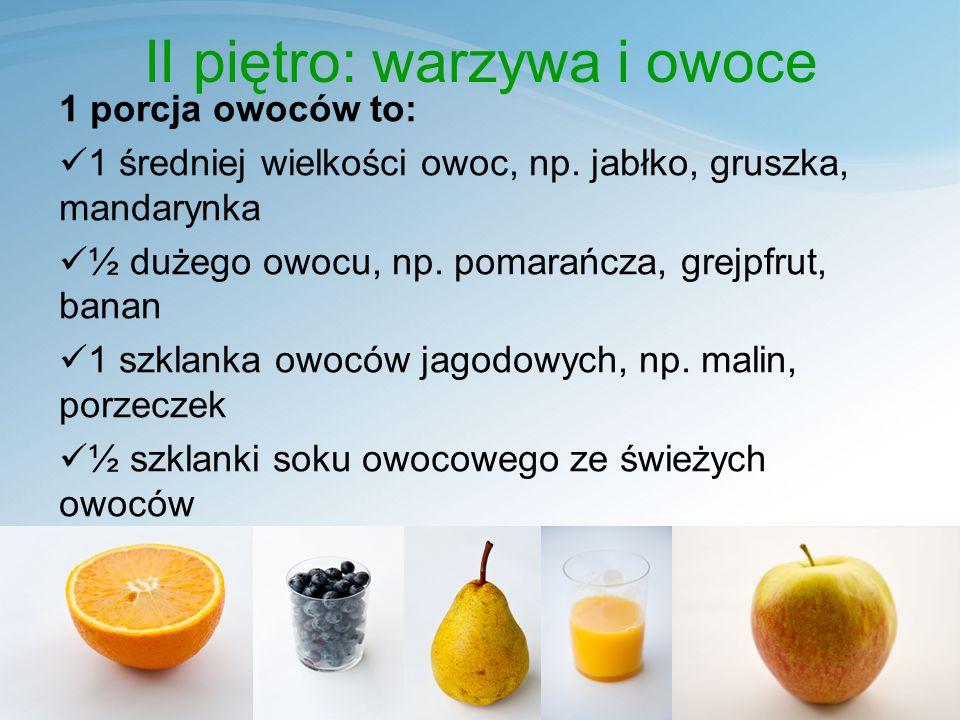 II piętro: warzywa i owoce 1 porcja owoców to: 1 średniej wielkości owoc, np.
