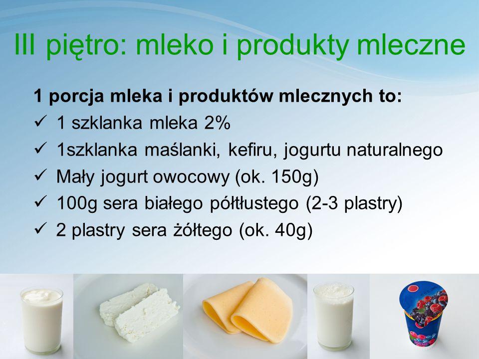 III piętro: mleko i produkty mleczne 1 porcja mleka i produktów mlecznych to: 1 szklanka mleka 2% 1szklanka maślanki, kefiru, jogurtu naturalnego Mały jogurt owocowy (ok.