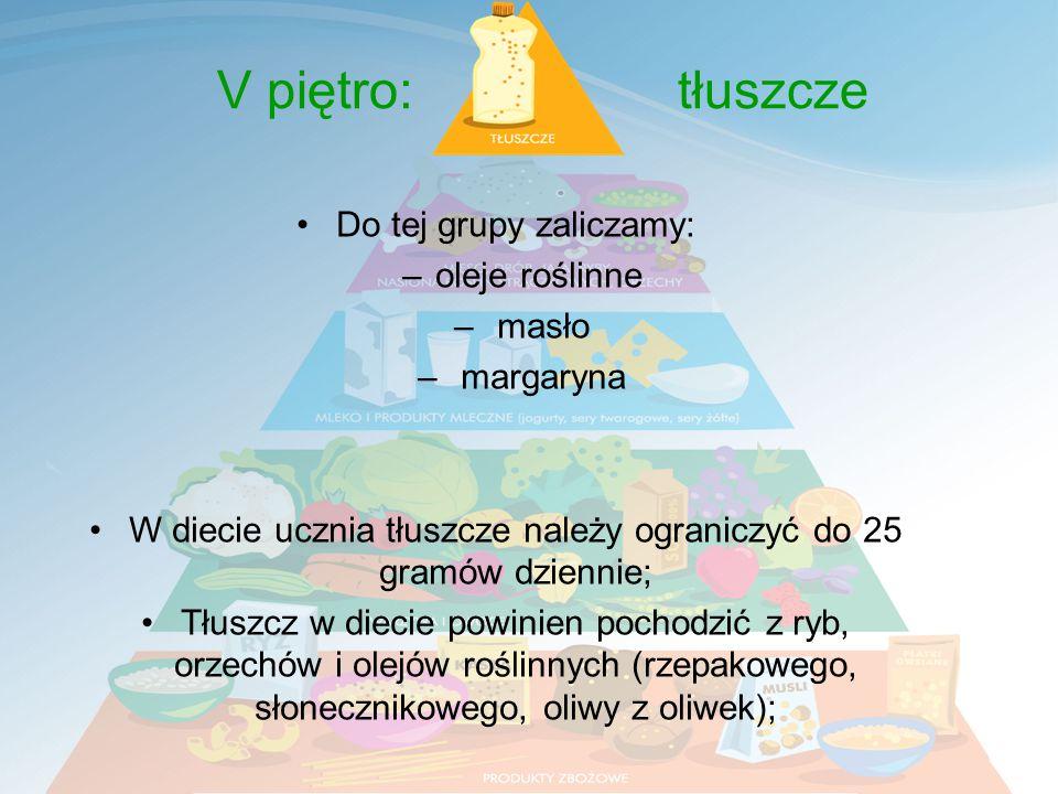 Do tej grupy zaliczamy: –oleje roślinne – masło – margaryna W diecie ucznia tłuszcze należy ograniczyć do 25 gramów dziennie; Tłuszcz w diecie powinien pochodzić z ryb, orzechów i olejów roślinnych (rzepakowego, słonecznikowego, oliwy z oliwek); V piętro: tłuszcze