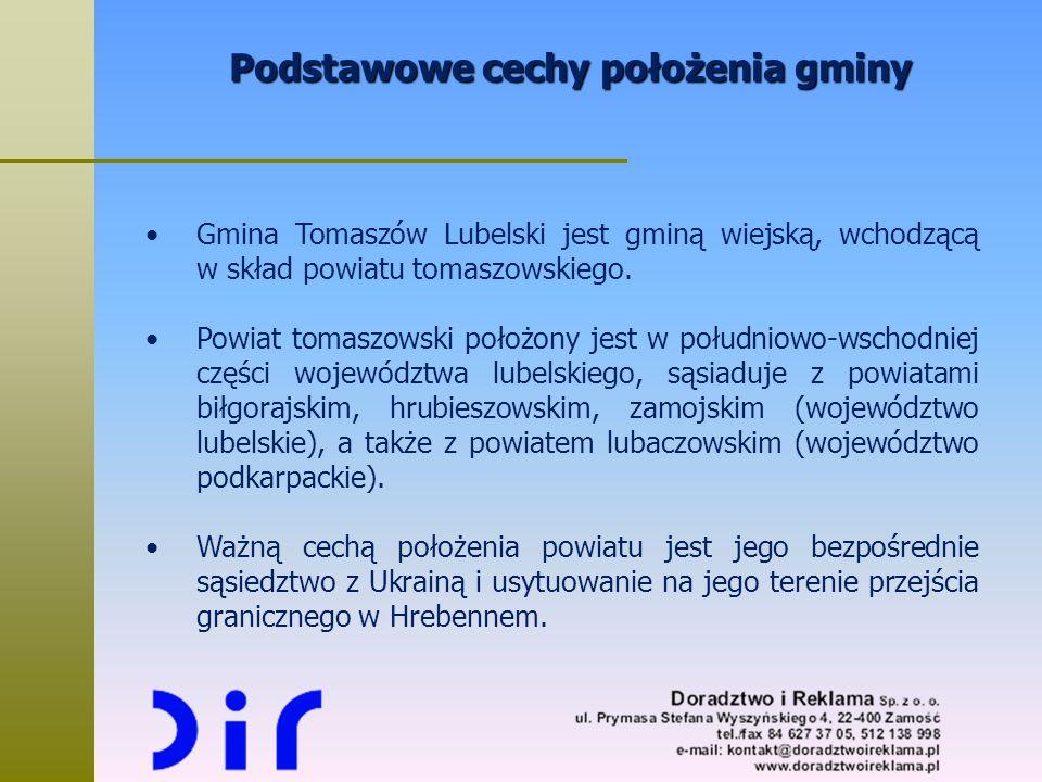 Podstawowe cechy położenia gminy Gmina Tomaszów Lubelski jest gminą wiejską, wchodzącą w skład powiatu tomaszowskiego. Powiat tomaszowski położony jes