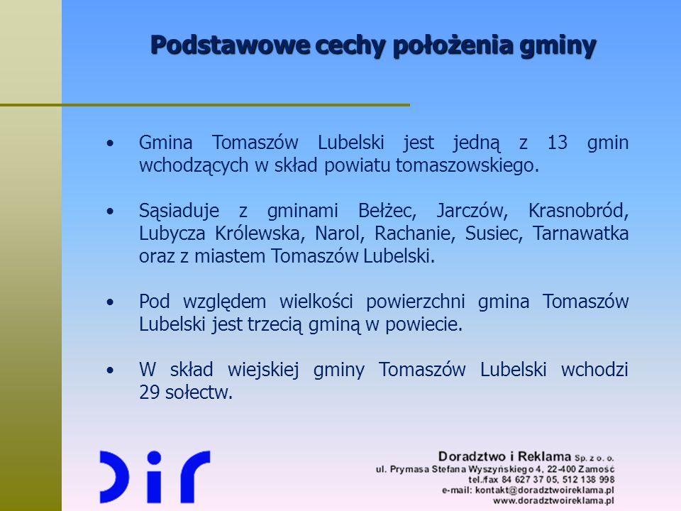 Podstawowe cechy położenia gminy Gmina Tomaszów Lubelski jest jedną z 13 gmin wchodzących w skład powiatu tomaszowskiego. Sąsiaduje z gminami Bełżec,