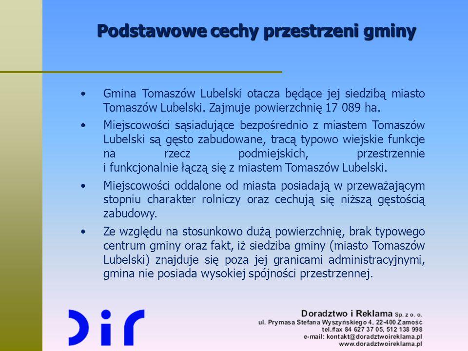 Podstawowe cechy przestrzeni gminy Gmina Tomaszów Lubelski otacza będące jej siedzibą miasto Tomaszów Lubelski. Zajmuje powierzchnię 17 089 ha. Miejsc