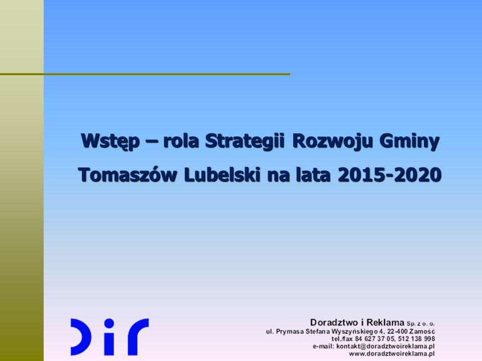 Wstęp – rola Strategii Rozwoju Gminy Tomaszów Lubelski na lata 2015-2020