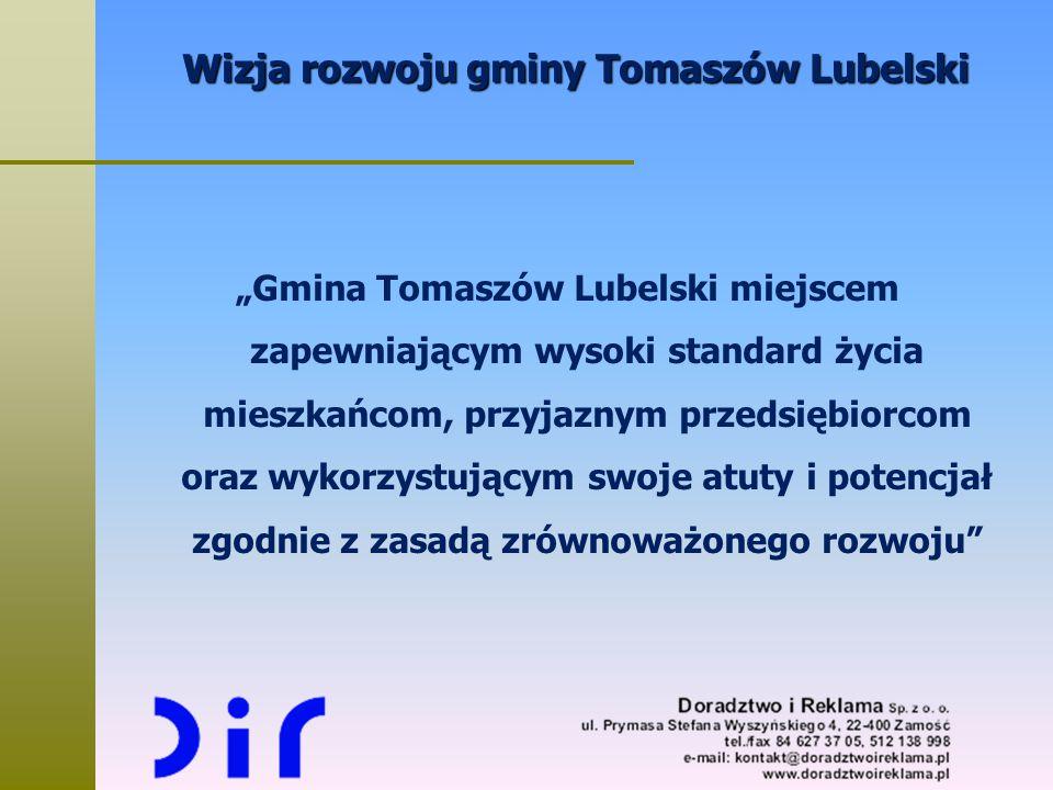 """Wizja rozwoju gminy Tomaszów Lubelski """"Gmina Tomaszów Lubelski miejscem zapewniającym wysoki standard życia mieszkańcom, przyjaznym przedsiębiorcom or"""