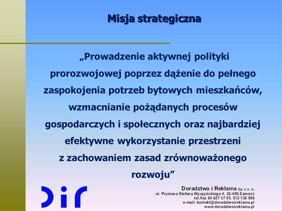 """Misja strategiczna """"Prowadzenie aktywnej polityki prorozwojowej poprzez dążenie do pełnego zaspokojenia potrzeb bytowych mieszkańców, wzmacnianie pożą"""