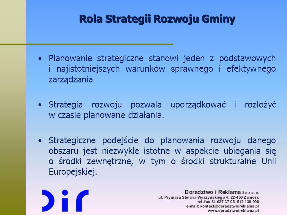 Rola Strategii Rozwoju Gminy Planowanie strategiczne stanowi jeden z podstawowych i najistotniejszych warunków sprawnego i efektywnego zarządzania Str
