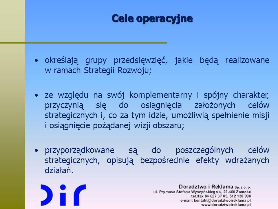 Cele operacyjne określają grupy przedsięwzięć, jakie będą realizowane w ramach Strategii Rozwoju; ze względu na swój komplementarny i spójny charakter
